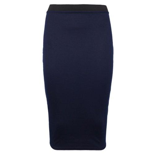 Purple Hanger - Jupe Crayon Stretch Mi Longue Taille Elastique Contrastée Coupe Moulante Couleur unie Bleu Marine