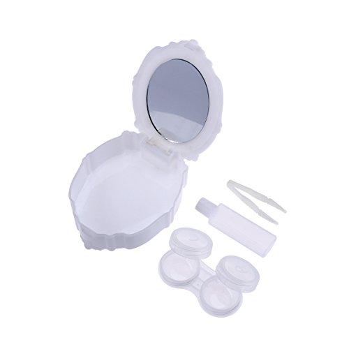 ROSENICE Kontakt Objektiv-Fall Mini-Reise Einfacher Kontakt Fall-Behälter-Halter (Kontakt Weiß Objektiv)