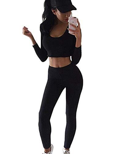 Minetom Damen 2 Stücke Set Outfit Sport Yoga Fitness Bodycon Slim Jogginganzug U-Ausschnitt Langarmhemd Jumpsuit Crop Top + Leggings (DE 34, Schwarz)