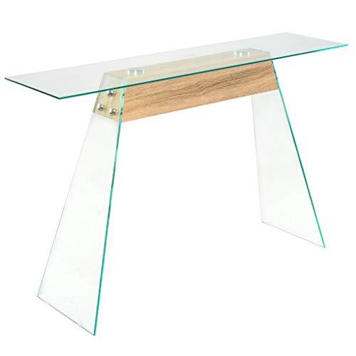 Festnight tavolino consolle design moderno in vetro e mdf 120x30x76 cm colore quercia