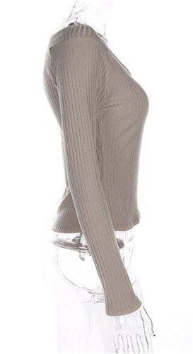 Tayaho Pullover Manche Longue Femme T-shirt Col V Coton Top Couleur Unie Haut Pull Classique ElÉGant Sweats Confortable Basique Grey