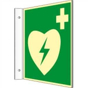 Fahnenschild Defibrillator HIGHLIGHT PVC 14,8 x 14,8cm - Herz-defibrillator