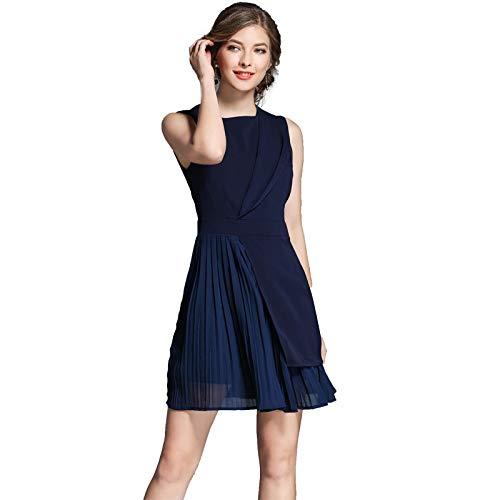 Solide Geraffte Kleid (QUNLIANYI Kleider Lang Bürodame Ärmellos Geraffte Arbeitskleidung Kleid Frauen Solide Marineblau Chiffon Patchwork Plissee Minikleid M)