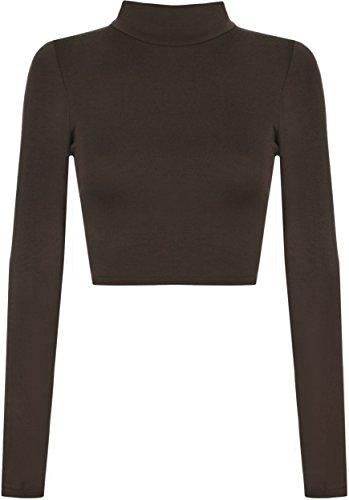 WearAll - Damen Rollkragen Cropped Langarm Schmucklos Kurz Elastisch Top - 11 Farben - Größe 36-42 Braun