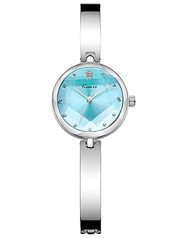 Alienwork Quartz Watch bracelet chain warp Wristwatch elegant stylish Metal turquoise silver YH.K6211S-02