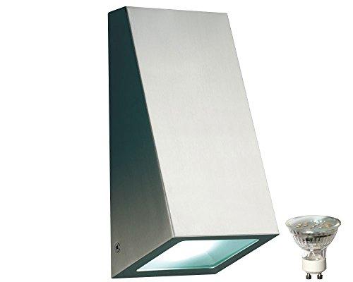 Edelstahl Wand Leuchte Außen Strahler Down Lampe im Set inklusive 3 Watt LED Leuchtmittel