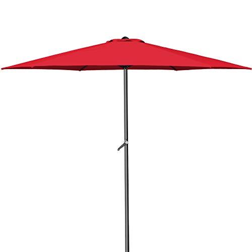 Deuba® Kurbelsonnenschirm I Aluminium I Ø300cm I mit Kurbel + Dachhaube I mit Neigevorrichtung I rot - Sonnenschirm Marktschirm Gartenschirm
