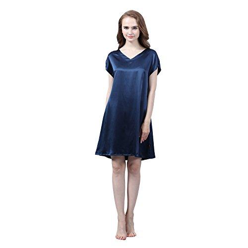 e277aa5de8a93b LULUSILK Damen 22 Momme Seide V-Ausschnitt Kurzarm Nachthemd Mini  Nachtkleider