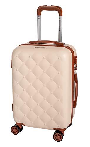 Enrico coveri moving trolley da viaggio, valigia rigida abs beige e marrone