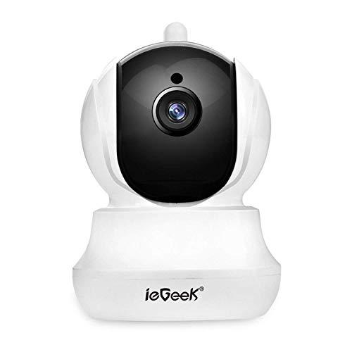 Cámara IP wifi ieGeek, HD 720P Cámara de Vigilancia interior, inalámbrica de seguridad sistema con visión nocturna, Soporte Detección de Movimiento, Hifi audio de dos maneras con Micrófono y Altavoz Soporte Max 128G Micro SD Tarjeta para Registro