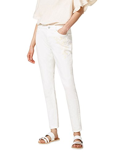 ESPRIT Women's Off White Stretch Jeans with Embroidery