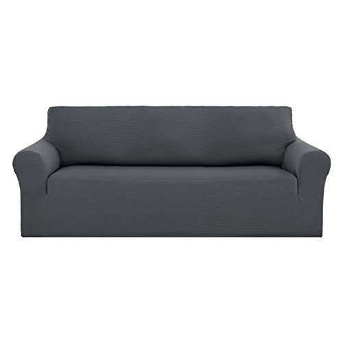 Leder Couch Sammlung (Deconovo Stretch-trägerlose Abdeckung des Normallack Premium-Jacquard Glatte Couch-Abdeckung Sofa grau)
