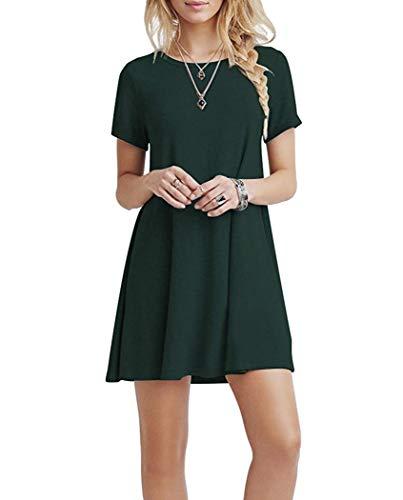 Grünes T-shirt Kleid (YOUCHANKleidDamenSommerkleidFreizeitkleidShirtkleidT-ShirtBluseTunikaKurzarmLegerLangesLockerKleider_Armeegrün_M)