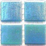 Irisé vitreux carreaux 20 mm bleu Turquoise