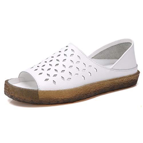 Verziert Faux Pelz (Frauen-Hohle Beleg auf flachen Sandalen öffnen Zehen-Abdeckungs-Fersen-Plattform-Sandelholz-weiches Faux-Leder-Bequeme Sommer-Freizeitschuhe)