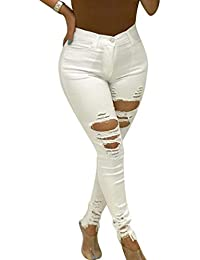 97c9fae6c4 Zengbang Women Stretch High Waisted Jeans Pants Skinny Ripped Denim Jeans  Trousers