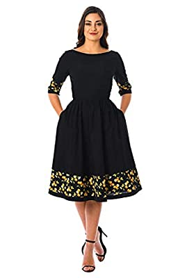 Karm Enterprise Printed one piece fancy frock solid fit and flare dress for women western wear skater dress