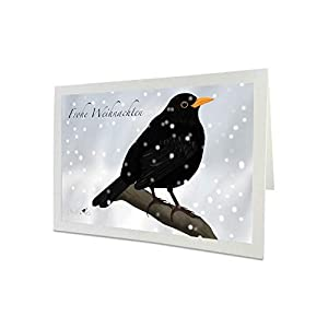 Weihnachtskarte mit Umschlag Amsel im Schnee Vogelmotiv Frohe Weihnachten
