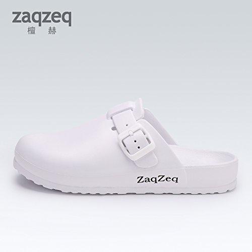 CWJDTXD Zapatillas de verano Quirófano zapatillas de hombres y mujeres médicos de guardia zapatos quirúrgicos portátiles blanco enfermera zapatos antideslizantes baotou zapatos de playa, 38, blanco