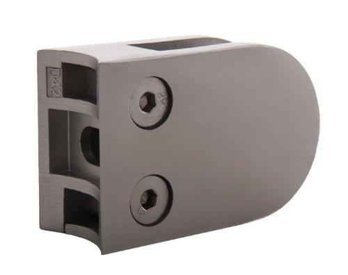 Acciaio inossidabile Vetro Schermo Piatto 63/45mm per tubi con Ø 42,4mm-con gomma-Pignone per vetro spessore 8,76mm