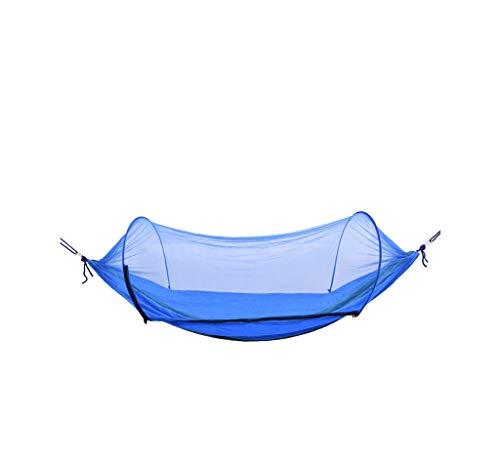 MAGF Doppel Camping Hängematte Mit Moskito/Käfernetzen Outdoor Schaukel Mit Baumgurten Erwachsene Kinder Anti-Fall 2 Personen Grün Blau Hängendes Bett (Color : Blue)