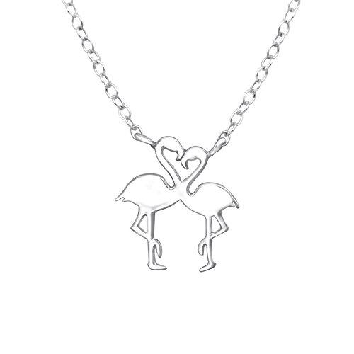 Womens Kostüm Flamingo - Laimons Damen-Halskette Anhänger küssende Flamingo glanz mit Kette 45cm Sterling Silber 925