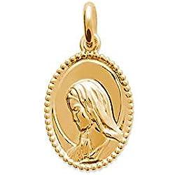 Tata Gisèle © Pendentif Médaille en Plaqué Or Ovale avec Portrait Vierge Marie - Sachet Cadeau Velours Offert