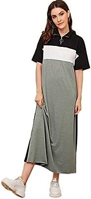 SheIn Women's Casual Loose Short Sleeve Colorblock High Neck Long Maxi T-Shirt Dre