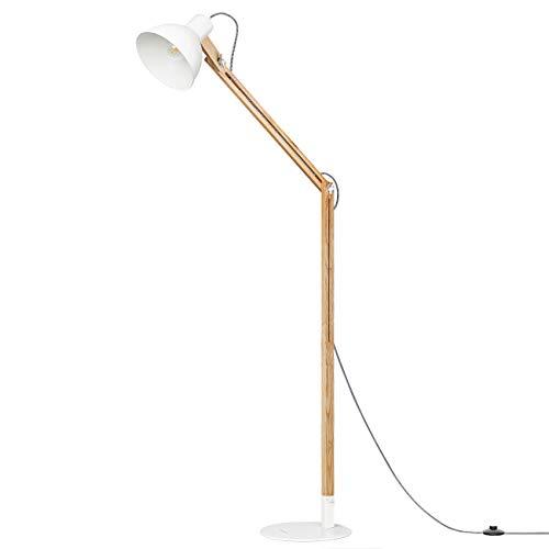 Tomons LED Stehlampe Holz, skandinavischer Stil, warmes und elegantes Design, schlichte Form max. 40W, E27, Höhe 147 cm, Multi-Winkel Schwingarm für Wohnzimmer, Schlafzimmer, Esszimmer usw, FL1001 -