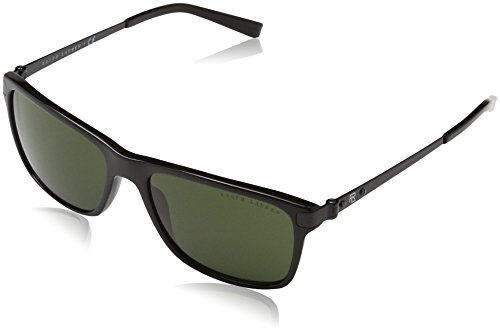 Ralph lauren 0rl81550171, occhiali da sole uomo, nero (black/dark green), 57