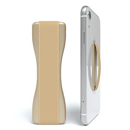 EAZY CASE Premium Smartphone Finger Halterung - Selbstklebender Handy Griff, Smartphonehalter, Selfie Handyhalter, Fingerhalterung - geeignet für e-Reader und kleine Tablets, Gold -