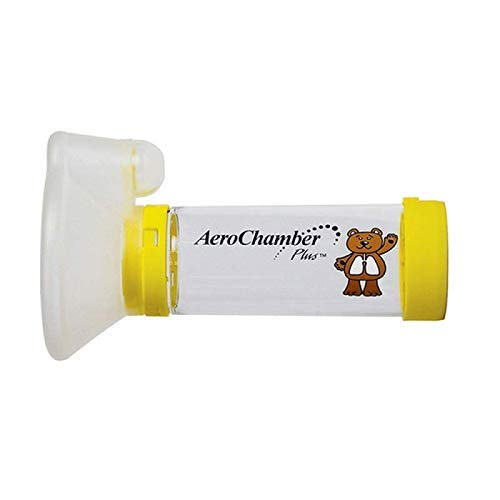 Aerochamber Plus spacer device, Child, Meduim, Yellow,with face mask, Latex free by...