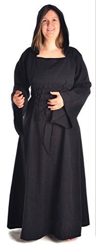 (HEMAD Damen Mittelalter Kleid zum Schnüren mit Gugel weiß rot grün blau braun schwarz S - XL (XL, schwarz))