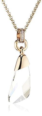 Tamaris Damen-Kette mit Anhänger Wings Edelstahl Zirkonia Goldfarbig/weiß 70 cm