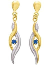 Boucles d'oreilles pendantes - Or bicolore 9 cts - Saphir - 9K8365S