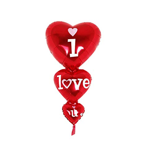 Gfjhgkyu Liebe Herzform Buchstaben Print Party Decor Leichtgewicht DREI Liebes Herz Schnur Buchstaben Aluminiumfolie Ballon Partei Hochzeits Dekoration