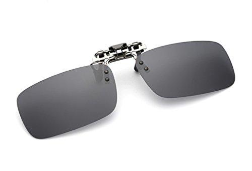 ELSA & ANNA® Polarisierte Sonnenbrillen Unisex Flip-up Klipp auf Sonnenbrille Gläsern Brille VF-GLS02 (Schwarz)