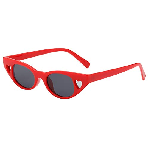 QinMM Mode Mann Frauen Smasll Rahmen Herz Sonnenbrille Brille Vintage Retro Style wählbar Horn Gestell Halbrahmen Polarisierte Sonnenbrille