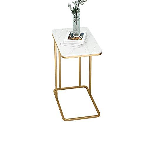 Tabelle Couchtisch, Marmor Arbeitsplatte Sofa Beistelltisch Typ C Akzent Tisch Multifunktions-Telefontisch für Wohnzimmer Balkon (Farbe : Marble, größe : Gold)