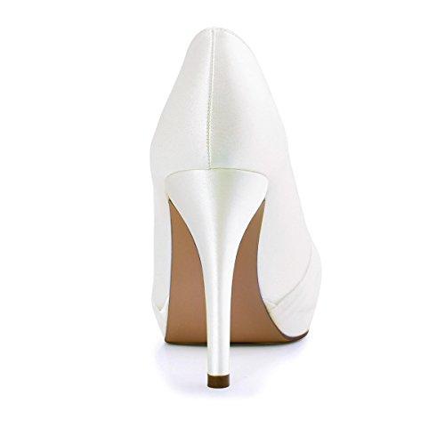 ElegantPark HC1609P Damen Geschlossene Zehen Pleated Chiffon Pumps Rhinestones Schnall Satin Brautchuhe Ivory