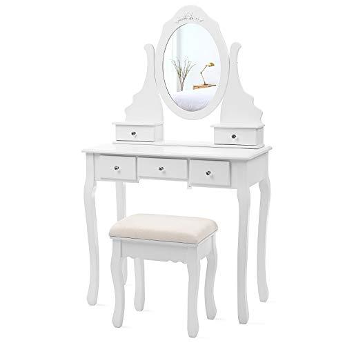 SONGMICS Coiffeuse, Table de Maquillage, avec 1 Miroir, 5 tiroirs et 1 Tabouret, Parois dans Le tiroir, Miroir pivotant, Blanc, RDT09W