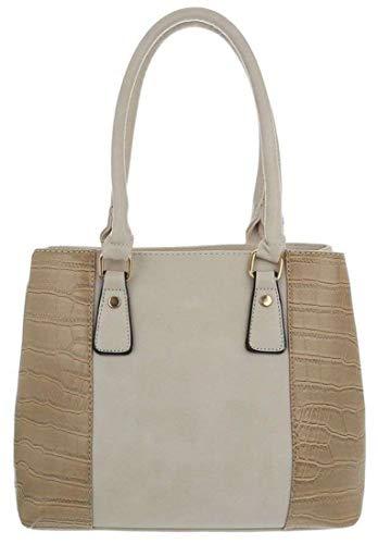 Dudlin Stylische Damen Schultertasche, Handtasche, Shopperbag in hochwertiger Lederoptik (beige) - Strass Beige Handtasche