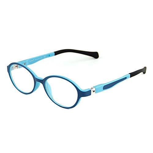 Cyxus Filtern Blaues Licht Brille für Kinder [Flexibles Leichtgewicht] 5-10 jahre alt Kinderbrille gegen Augenbelastung (klare Linsen) Ovaler Rahmen (Blau)