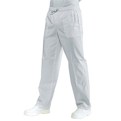 Isacco Pantalone Bianco da Lavoro con Coulisse 100% Cotone - Marca Ottima Vestibilità 3 tasche modello Unisex uomo/donna (L)