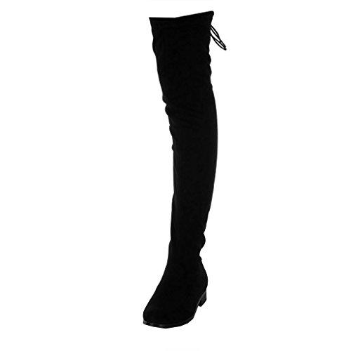 Angkorly - Chaussure Mode Cuissarde Botte Souple Cavalier Femme Lacets Noeud Talon Bloc 3 CM - Noir PU - TE3037-102 T 38