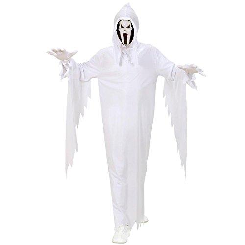 Weißes Kinder Gespenst Kostüm Geist Verkleidung weiß L 158cm 11-13 Jahre Scream Kostüm Geisterkostüm Geistkostüm Halloween Kinderkostüm (Haus Elf Kostüm)