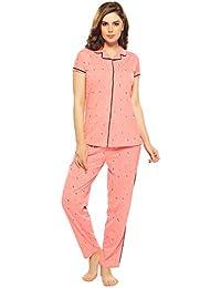 ZEYO Women's Cotton Navy Blue & Pink Leaf Print Night Suit Set