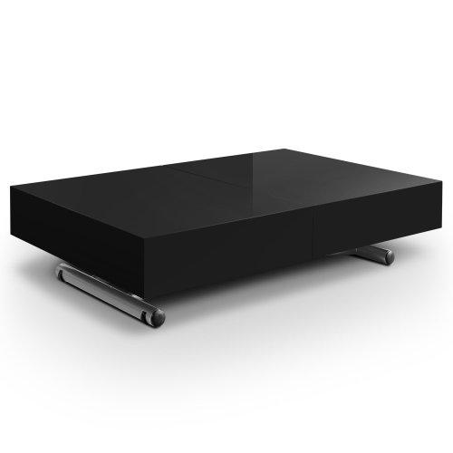 Menzzo B2232 Contemporain Cassidy Table Basse Relevable Bois/Inox Noir 80 x 120/220,5 x 38/76 cm
