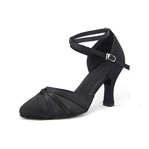 Syrads Zapatos de Baile Latino Mujer Americano Salsa Zapatos de Baile de Salón Tango Samba Vals Negro Tacon 8cm