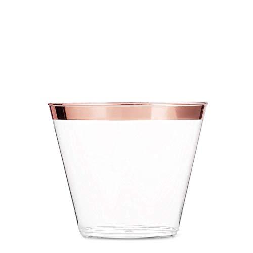her ~ 270ml 50 Päckchen Party - Cups, Schick Einweg - Becher Elegante Hochzeit Geburtstag Tassen (Gold) (Rose Gold) ()
